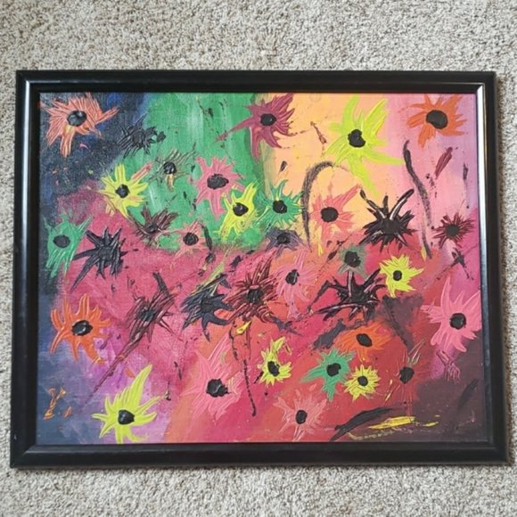 Handmade Framed Abstract Floral Painting